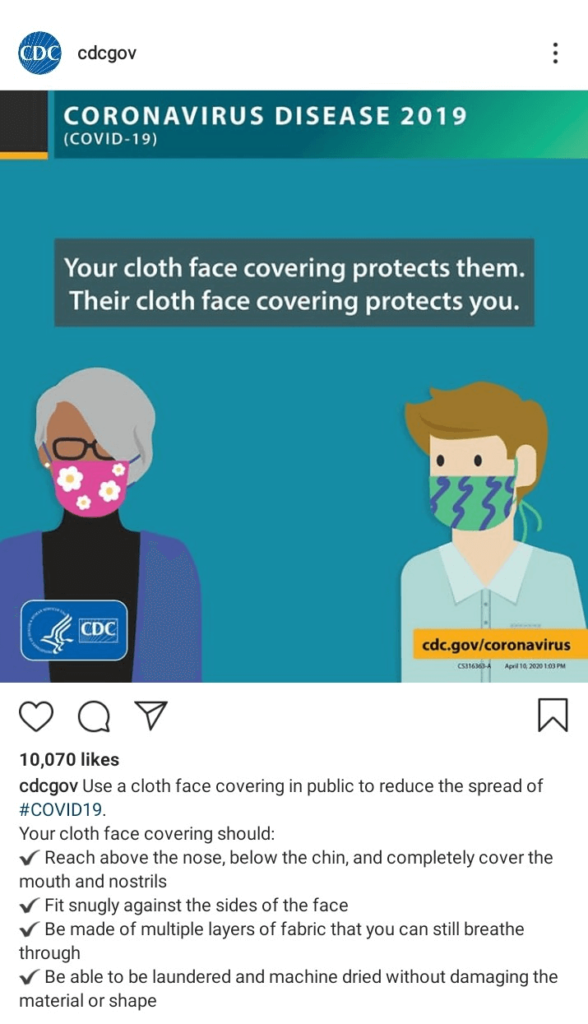 CDC on wearing face cloths (Instagram)