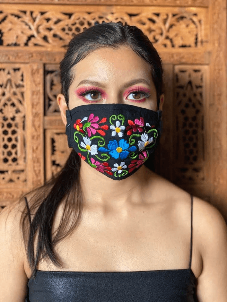 embroidered face mask floral design idea