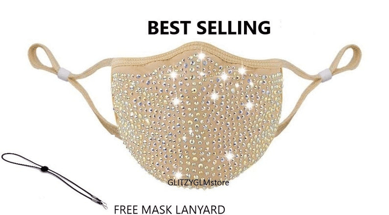 sequined and sparkling beaded face mask design idea