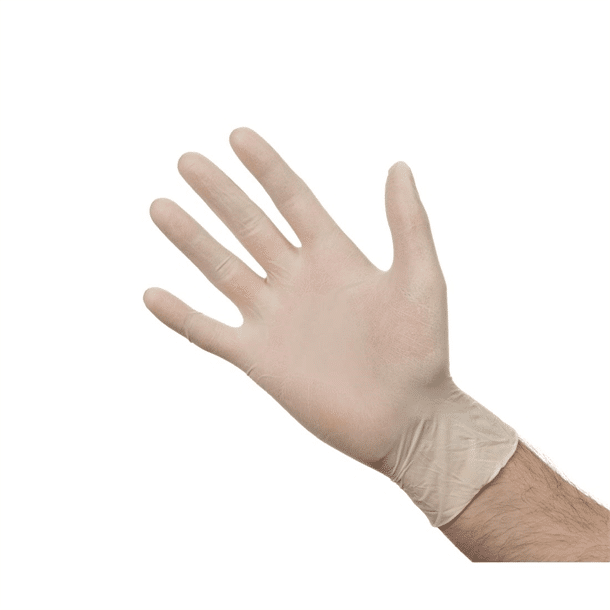 white, fit, durable latex gloves