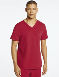 red surgical scrub top